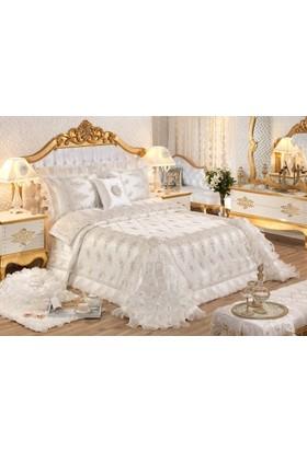 Elart Hatice Sultan Çift Kişilik Yatak Örtüsü Gümüş