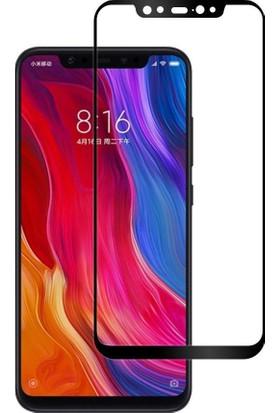Case 4U Xiaomi Mi 8 Tam Kaplayan Ekran Koruyucu - Temperli Cam Koruyucu Film - Siyah