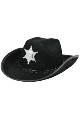 Samur Çocuk Kovboy Şapkası Sheriff Şapkası Siyah Renk