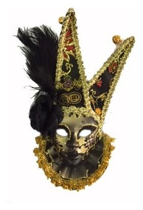 Samur Tüylü Dekoratif Seramaik Maske Siyah Renk
