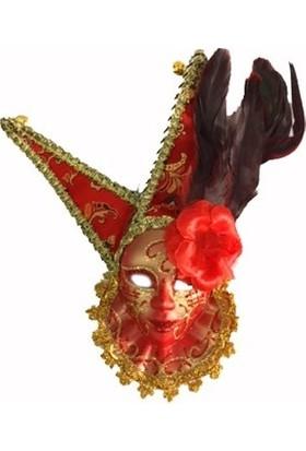 Samur Tüylü Dekoratif Seramaik Maske Kırmızı Renk
