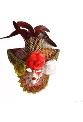 Samur Güllü Dekoratif Seramik Maske Kırmızı Renk