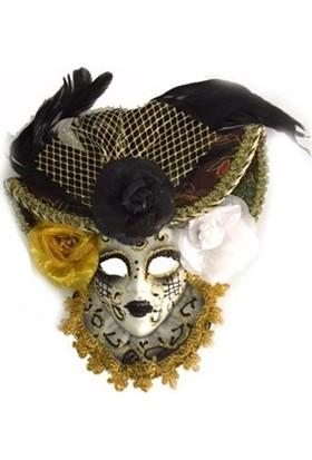 Samur Güllü Dekoratif Seramik Maske Siyah Renk