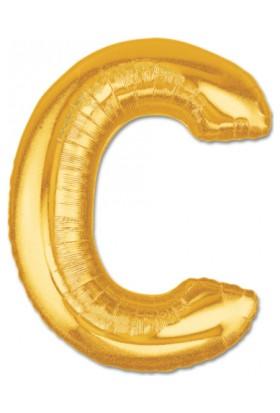 Samur C Harf Folyo Balon Altın Renk