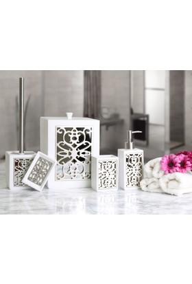 By Selim Sofia 5 Parça Polyester Banyo Seti - Beyaz/Gümüş
