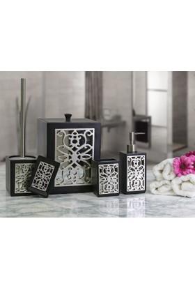 By Selim Sofia 5 Parça Polyester Banyo Seti - Siyah/Gümüş