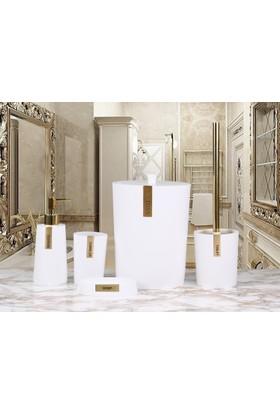 By Selim Troy 5 Parça Polyester Banyo Seti - Beyaz/Altın