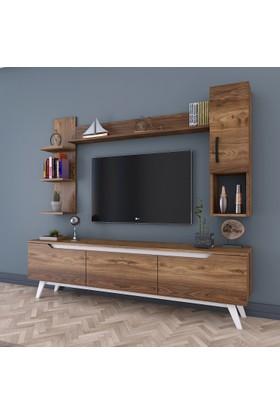 Rani D1 Duvar Raflı Kitaplıklı Tv Ünitesi Duvara Monte Dolaplı Ahşap Ayaklı Tv Sehpası Ceviz Beyaz M25