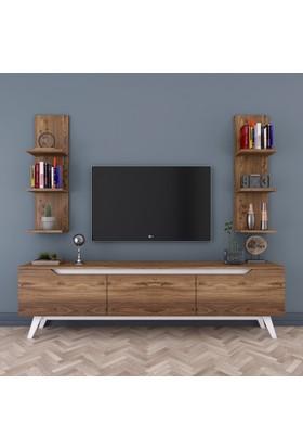 Rani D1 Duvar Raflı Kitaplıklı Tv Ünitesi Duvara Monte Dolaplı Ahşap Ayaklı Tv Sehpası Ceviz Beyaz M24