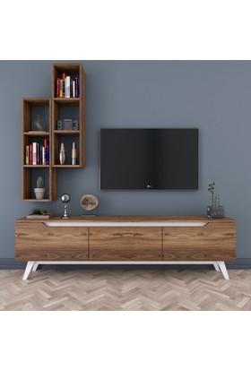 Rani D1 Duvar Raflı Kitaplıklı Tv Ünitesi Duvara Monte Dolaplı Ahşap Ayaklı Tv Sehpası Ceviz Beyaz M15
