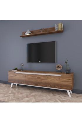 Rani D1 Duvar Raflı Tv Ünitesi Ahşap Ayaklı Tv Sehpası Ceviz Beyaz M30