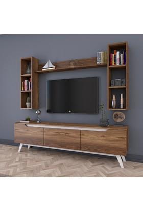 Rani D1 Duvar Raflı Kitaplıklı Tv Ünitesi Duvara Monte Dolaplı Ahşap Ayaklı Tv Sehpası Ceviz Beyaz M4