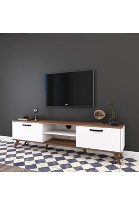 Rani A5 Duvar Tv Ünitesi Modern Ayaklı Tv Sehpası Ceviz Beyaz