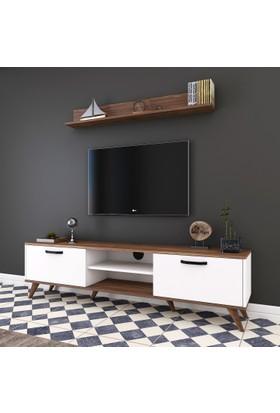 Rani A5 Duvar Raflı Kitaplıklı Tv Ünitesi Modern Ayaklı Tv Sehpası Ceviz Beyaz M30