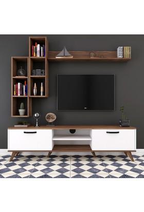 Rani A5 Duvar Raflı Kitaplıklı Tv Ünitesi Duvara Monte Dolaplı Modern Ayaklı Tv Sehpası Ceviz Beyaz M16