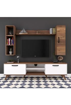 Rani A5 Duvar Raflı Kitaplıklı Tv Ünitesi Duvara Monte Dolaplı Modern Ayaklı Tv Sehpası Ceviz Beyaz M9