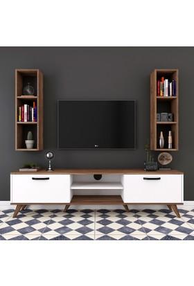 Rani A5 Duvar Raflı Kitaplıklı Tv Ünitesi Duvara Monte Dolaplı Modern Ayaklı Tv Sehpası Ceviz Beyaz M6