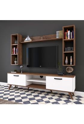 Rani A5 Duvar Raflı Kitaplıklı Tv Ünitesi Duvara Monte Dolaplı Modern Ayaklı Tv Sehpası Ceviz Beyaz M5