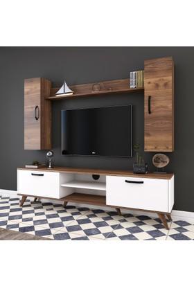 Rani A5 Duvar Raflı Kitaplıklı Tv Ünitesi Duvara Monte Dolaplı Modern Ayaklı Tv Sehpası Ceviz Beyaz M2