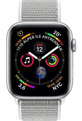 Apple Watch Seri 4 44mm GPS Gümüş Rengi Alüminyum Kasave DenizKabuğu SporLoop - (MU6C2TU/A)