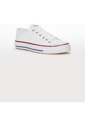 Tarçın Keten Kadın Ayakkabı Beyaz