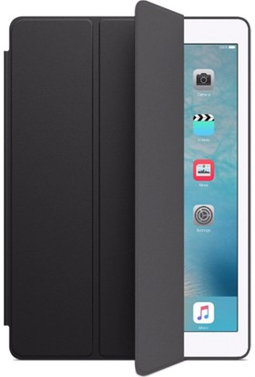 Redpoloshop Apple iPad 6. Nesil 2018 9.7 A1893 A1954 Kılıf Lux Smart Cover Slim Siyah + Ekran Koruyucu Cam