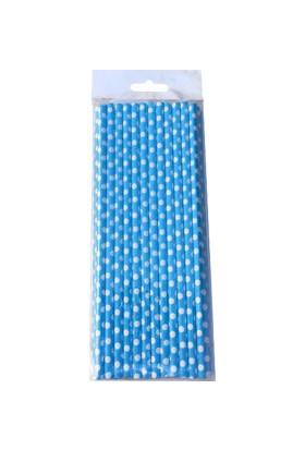 Miray Süs Pipet Puantiyeli Karton Mavi 25 Adet