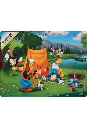 Woody Mickey Mouse Ve Arkadaşları 12 Parça Ahşap Oyuncak Yapboz Göl Kenarında Kamp