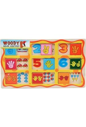 Woody Resimli Ahşap Kaydırmalı Yapboz Puzzle Sayılar