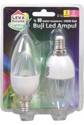 LevaHouse E-14 Duylu Şeffaf Mum Led Ampul Beyaz Işık 2Li Paket