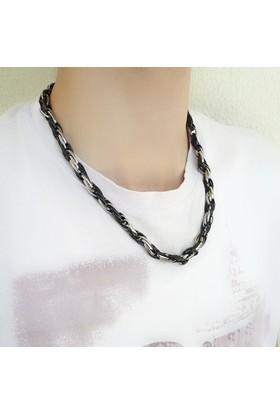 Chisenti Cheko011 Siyah Ve Gümüş Renk Çelik Erkek Kolye