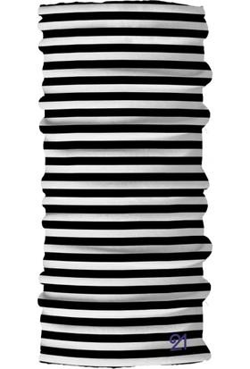 Fit21 Siyah Beyaz Çizgili İnce Bandana Ve Spor Saç Bandı