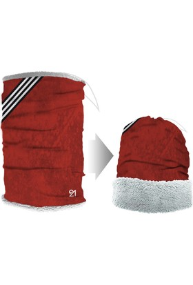 Fit21 Koyu Kırmızı Peluş Bandana Ve Bere