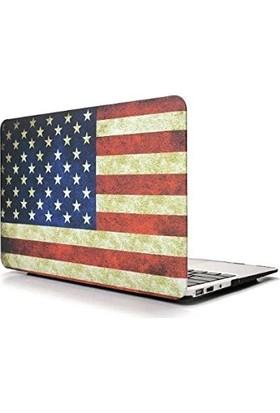 "Unico Apple Macbook Air 13"" ve 13.3"" A1369, A1466 Sert Koruyucu Kapak - Amerikan Bayrağı"