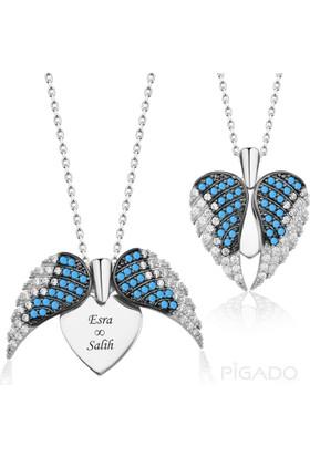 Pigado İsme Özel 925 Gümüş Turkuaz Aşkın Kanatları Kolye