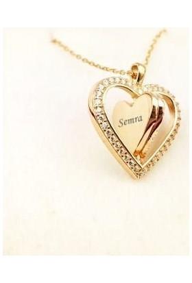 Pigado İsme Özel Gümüş 360 Derece Dönebilen Taşlı Kalp Kolye Gold M4