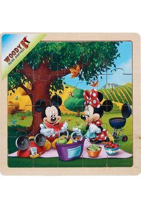 Woody Mickey Ve Minnie Mouse 20 Parça Ahşap Oyuncak Yapboz Piknik