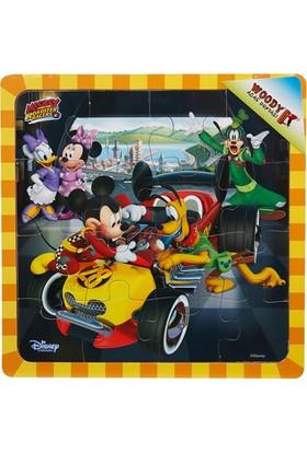 Woody Mickey Ve Çılgın Yarışçılar 16 Parça Ahşap Oyuncak Yapboz Tamirci Pluto