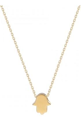 Pink Gold Store Mini Fatma Ana El Kolye TA7540 Sarı Altın