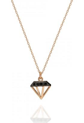Pink Gold Store Milano Diamond Siyah Taşlı Kolye TA7533 Pembe Altın