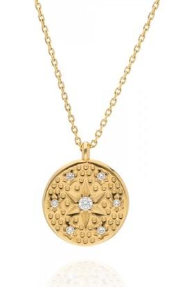 Pink Gold Store Güneş Çiçeği Plaka Kolye TA4287 Sarı Altın