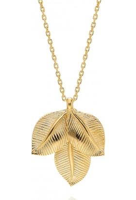 Pink Gold Store Three Leaf Kolye TA3586 Sarı Altın