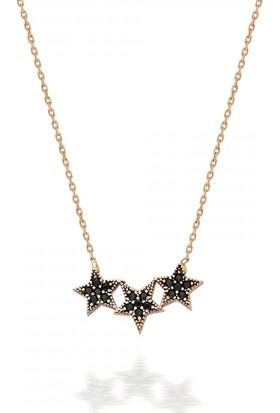 Pink Gold Store Üçlü Yıldız Siyah Taşlı Kolye TA2890 Pembe Altın