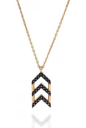 Pink Gold Store Chevron Üçlüsü Kolye TA2321 Pembe Altın