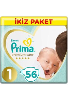 Prima Bebek Bezi Premium Care 1 Beden Yenidogan İkiz Paket 56 Adet