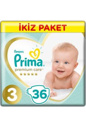 Prima Bebek Bezi Premium Care 3 Beden Midi İkiz Paket 36 Adet