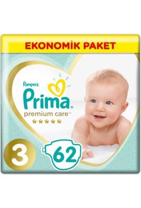 Prima Bebek Bezi Premium Care 3 Beden Midi Ekonomik Paket 62 Adet