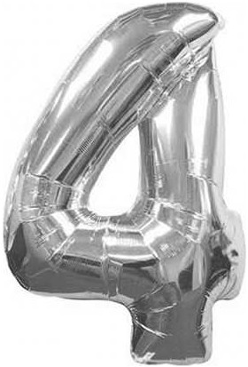 Azebu Folyo Balon Rakam 4 Gümüş 16 Inc(40Cm) Pk:1 Kl:500