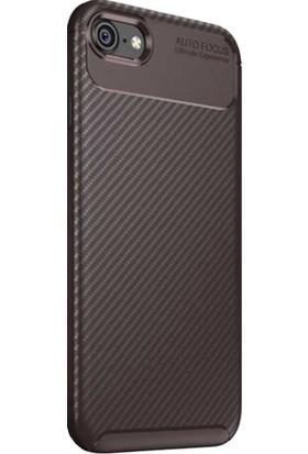 CoverZone Apple iPhone 7 Plus Kılıf Pc Karbon Delüx TPU Silikon Kahverengi - PKD21