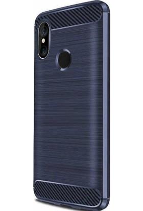 CoverZone Xiaomi Mi Max 3 Kılıf Room Silikon Lacivert + Temperli Ekran Koruma - RMM12